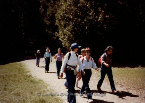 P008.014m.r.t Mt. Palomar 1983: Group beginning the trail (Lower Doane Trail to Dutch Weir), including Gretchen Alspach, Diane F. Germain, Mary Russell, Ann Ramsey, and Margaret Lewis