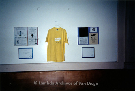 """P199.036m.r.t LGHSSD display of """"The Center"""" t-shirt on wall at The Center for mayor donor event"""