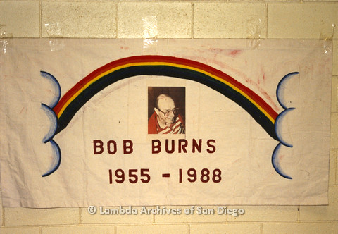 AIDS Quilt at San Diego Golden Hall,1988:  quilt dedicated to Bob Burns
