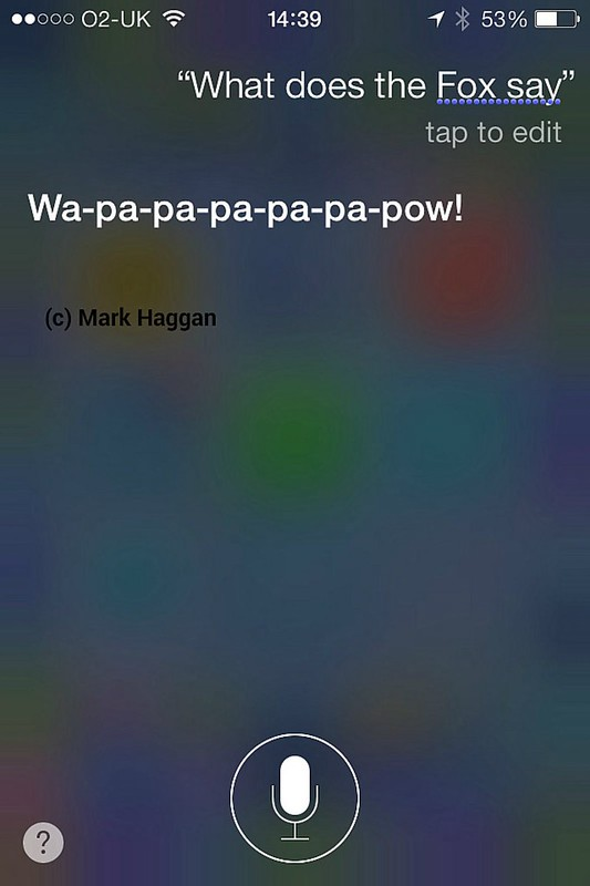 Siri's answer to What Does The Fox Say?