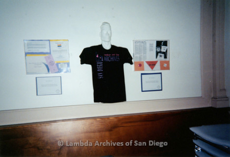 P199.035m.r.t LGHSSD display of  the archives' official t-shirt on wall at The Center for mayor donor event