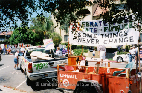 P018.161m.r.t San Diego Pride Parade 1999: U-Haul truck pulling float