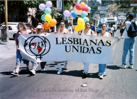 P018.134m.r.t Tijuana Pride Parade 1996: Lesbianas Unidas banner