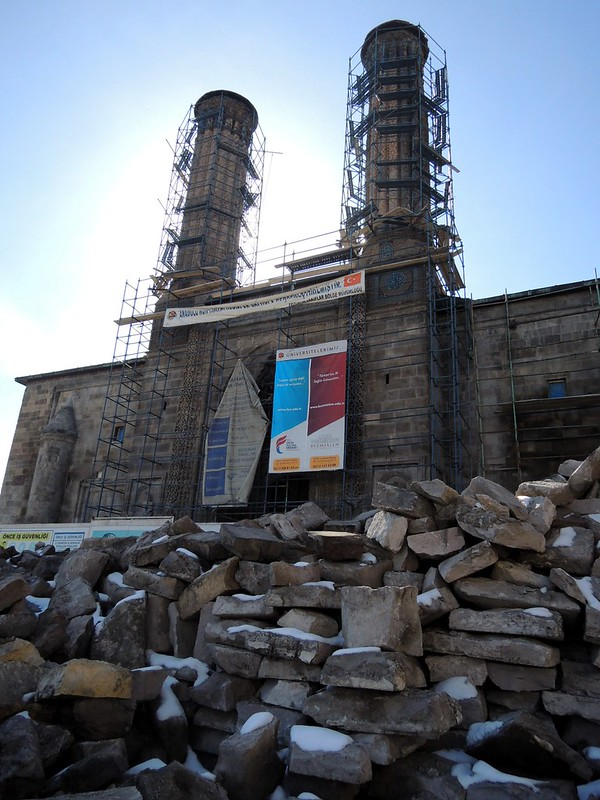 Erzurum's most famous site, Çift Minare (?) was being restored last time I was here as well by bryandkeith on flickr