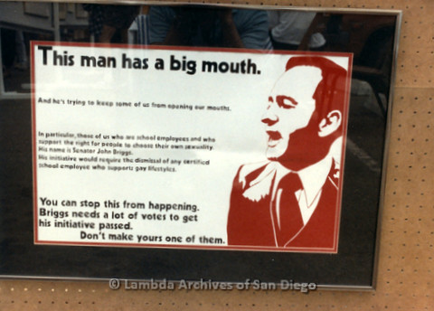 P019.304m.r.t M.A.P. Bake Sale/Art Auction: Political poster opposing Senator John Briggs and his anti-gay agenda