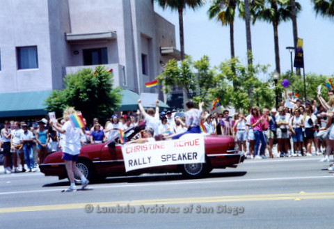San Diego LGBTQ Pride Parade, 1992, Christine Kehoe Rally Speaker
