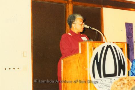 National Organization for Women, Susan B. Anthony Awards 1992: Woman speaking at podium on stage