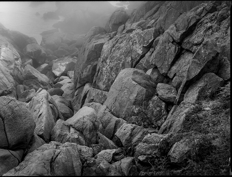 descending rock formations, coastline, fog, near Norton's Ledges, Monhegan, Maine, Mamiya 645 Pro, Ilford FP4+, Ilford Ilfosol 3 Developer, 7.5.16
