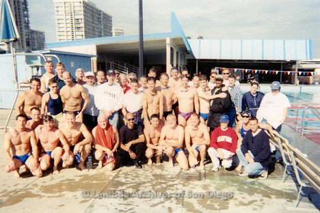 P263.010m.r.t Bart Hopple Memorial Swim: Group photo of swimmers and others by the swimming pool