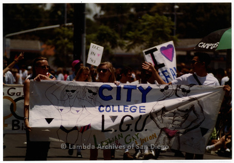P201.011m.r.t San Diego Pride Parade 1992: Marchers carrying a sign for City College Lesbian and Gay Union