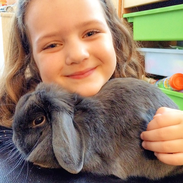 A girl & her rabbit