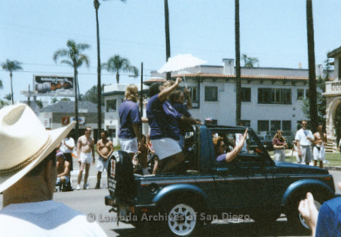 San Diego LGBTQ Pride Parade, July 1995: San Diego Women's Chorus, with Cynthia Lawrence Wallace (center) standing in the back of a Jeep