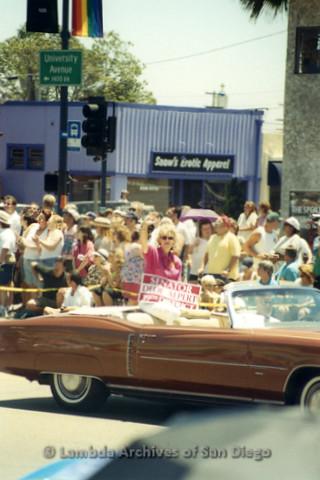 San Diego Pride Parade 1998: Senator Dede Alpert riding in the back of a convertible