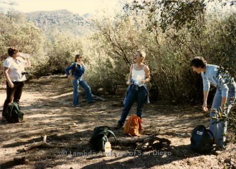 P008.115m.r.t Cuyamaca 1985: Hikers taking a water break