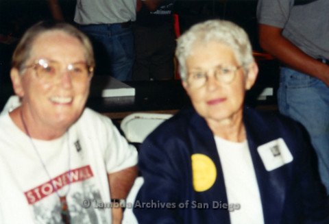 San Diego LGBT Pride Events, July 1999. Sheila Clark (left) with Grand Marshal, Betty DeGeneres (right) at her book signing during LGBT Pride Weekend.