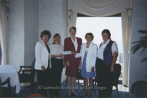 P237.004m.r.t Center Events: Five women holding check, Christine Kehoe (center)