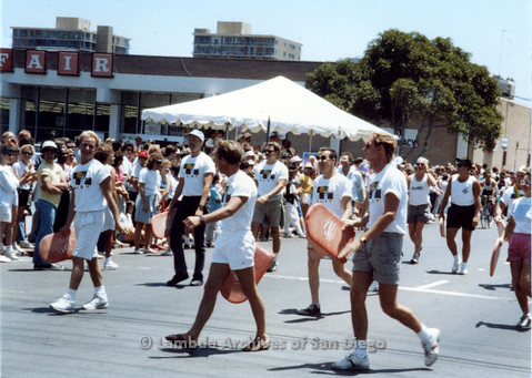 P018.027m.r.t San Diego Pride Parade 1988: Different Strokes Swim Team performers at parade