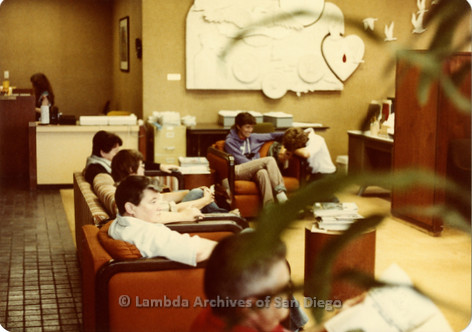 Blood Sisters blood drive, 1983: Full waiting room at the Blood Bank