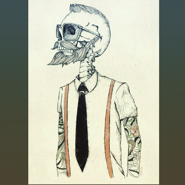 Vía Tumblr Hipster Skeleton Dibujo Draw Drawing Sk Flickr