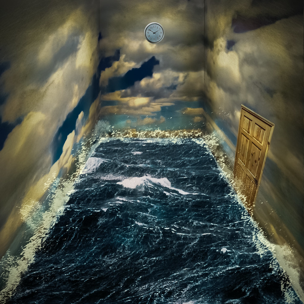 Surreal Room Stuck In A Room Of Sea With Walls Of Sky