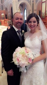 Peonies - Bride & Father with bridal bouquet