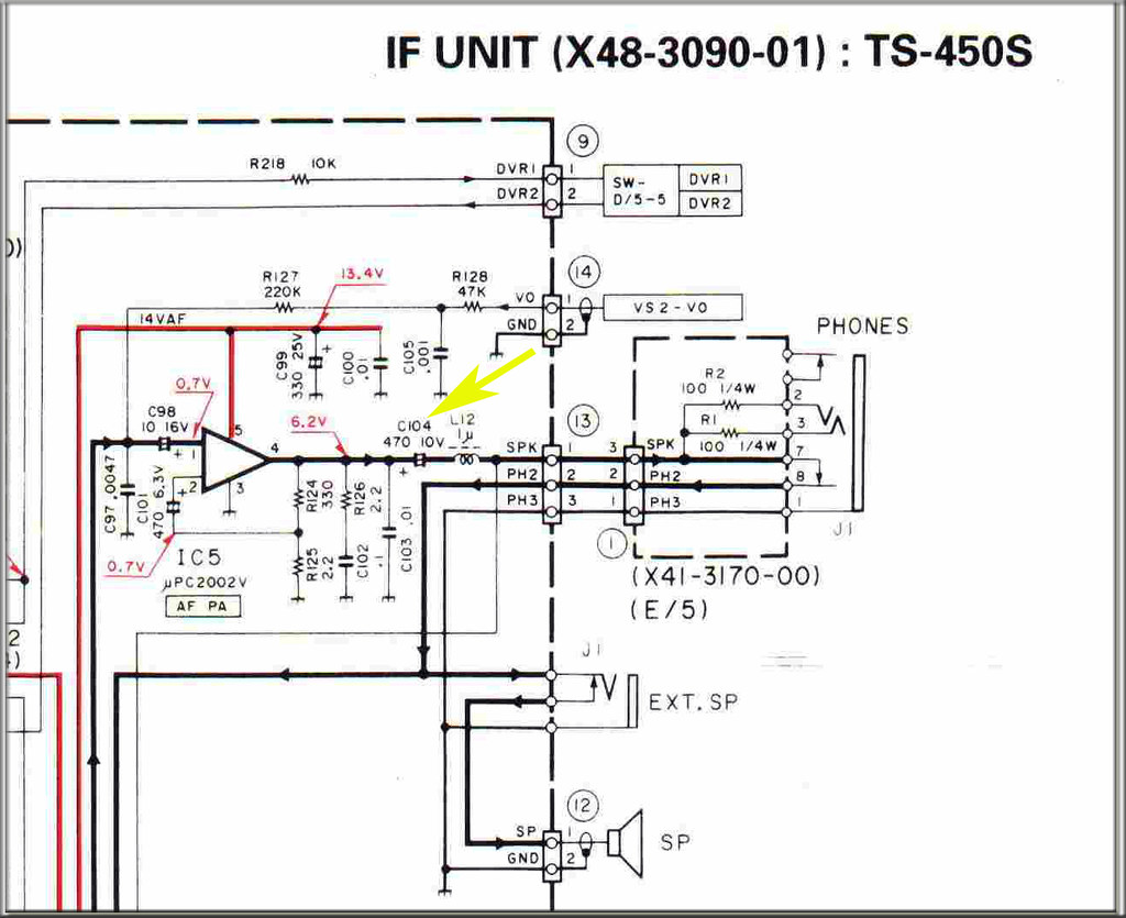 Kenwood TS-450S I F Board AF PA Capacitor Leakage C104