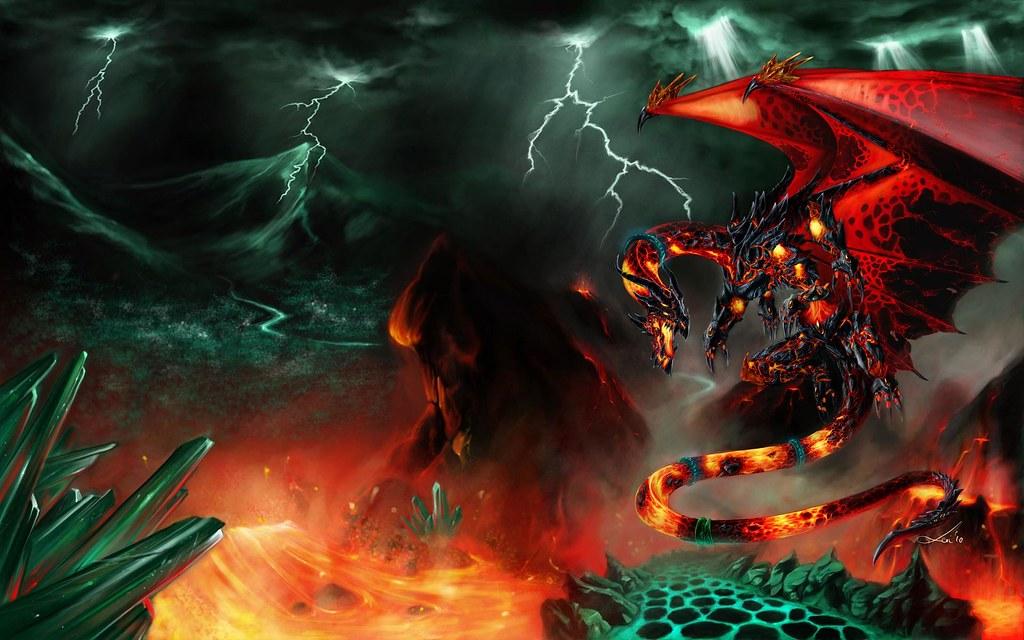 fantasy fire lava dragon