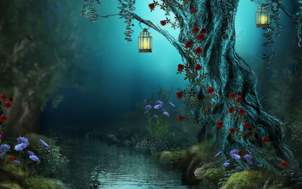 3d World Wallpaper World Fantasy Flowers Forest Lamps Nature Night Red Roses River