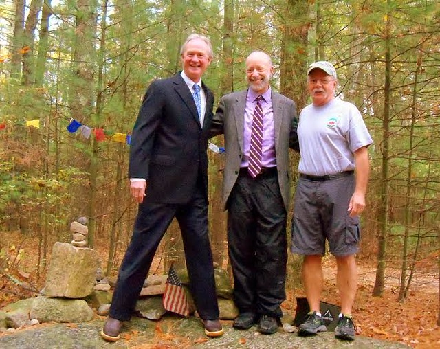 Rhode Island Governor Lincoln Chafee, Brown University  Dean David Targan and Highpointer Coordinator Stony Brook at formal transfer of Jerimoth Hill to Rhode Island on October 22, 2014