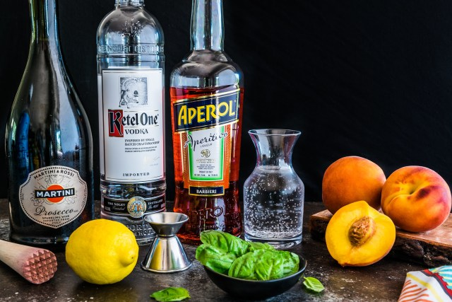 refreshing ingredients for a bubbly cocktail