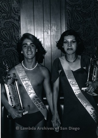 David Villa (left), Mr. Gay Teenager San Diego, and Linda, Miss Gay Teenager San Diego, 1976