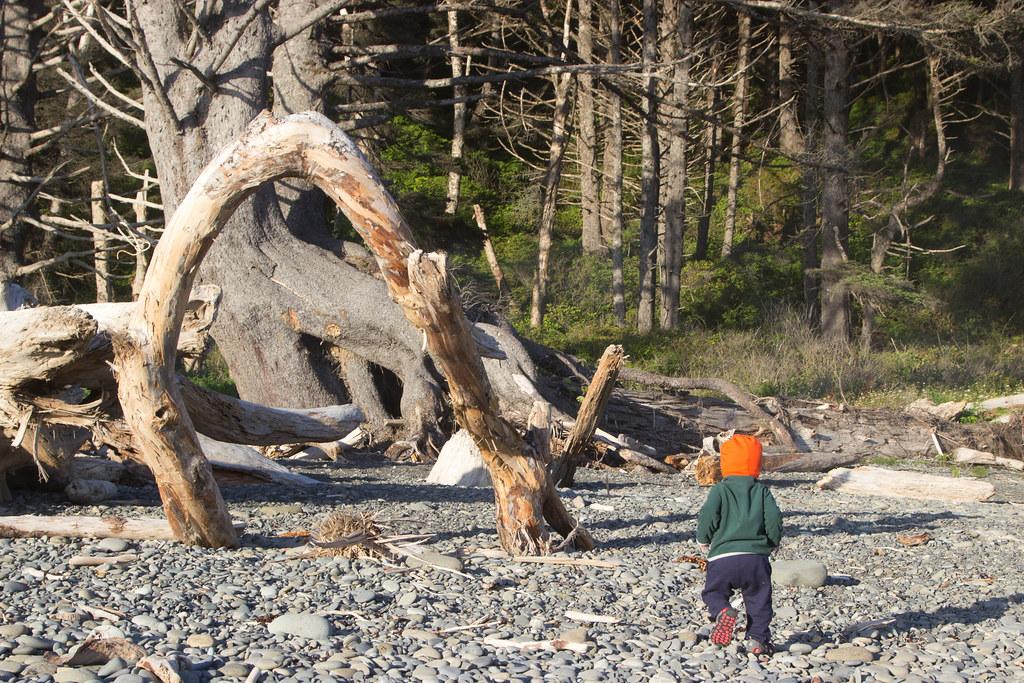 Kid running on a beach