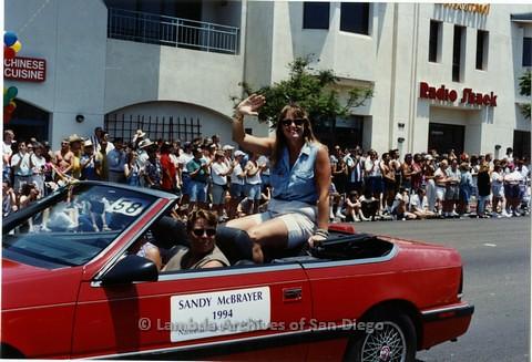 1994 - San Diego LGBT Pride Parade: Contingent - Sandy McBrayer, San Diego Teacher of the Year.