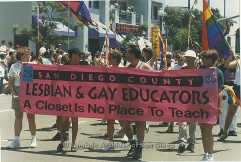 1995 - San Diego LGBT Pride Parade: San Diego County Lesbian And Gay Educators Contingent.