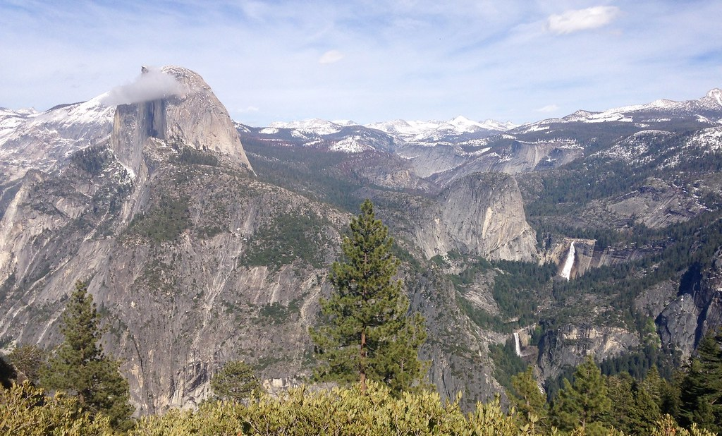 Half Dome, Liberty Cap, Vernal Falls and Nevada Falls from Glacier Point