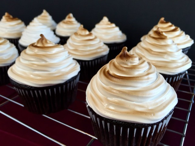 chocolate and peanut butter cookie dough cupcakes with toasted marshmallow
