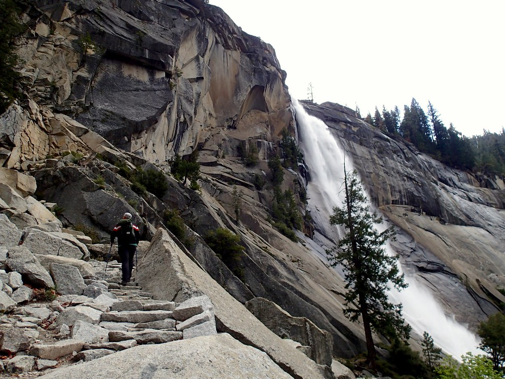 Climbing rock steps next to Nevada Falls