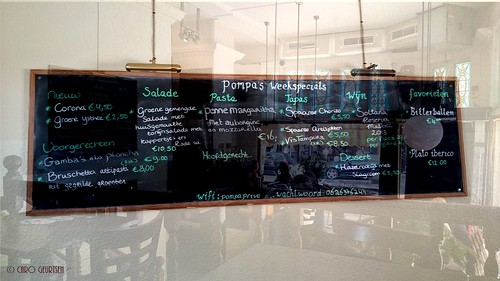 Menu board in Brasserie Pompa