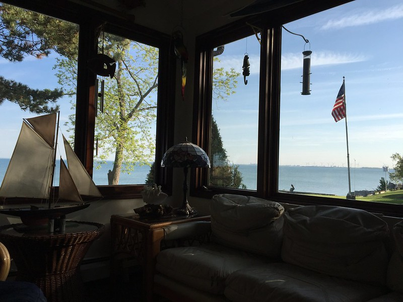 The sun room at the bed and breakfast, overlooking the wind generators and Buffalo