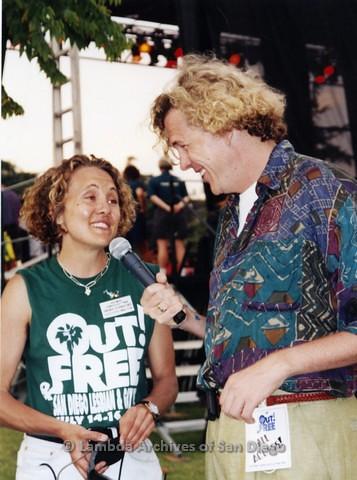1995 - San Diego LGBT Pride Festival: Brenda Schumacher, S.D. LGBT Pride Entertainment Director (left) Being Interviewed Back Stage.a