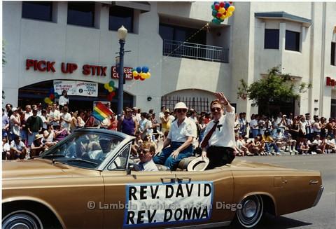 1994 - San Diego LGBT Pride Parade: Contingent - Reverend Donna Eubanks (left) and Reverend David Farrell (right) of M.C.C. San Diego Metropolitan Community Church.