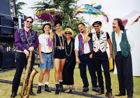 1995 - San Diego LGBT Pride Festival: Entertainment Stage Area, Back Stage with San Diego Performers, Kenny Ard and the Etouffee Beaucoup Band.