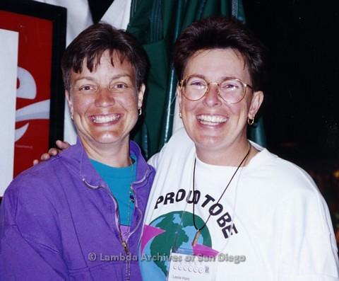 1995 - San Diego LGBT Pride Parade. - Leslie Horn (right) Board Member of The LGBT Community Center.