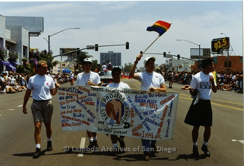 1994 - San Diego LGBT Pride Parade: Contingent - 'Project Lifeguard' an AIDS Program Promoting 'Safer Sex', part of The San Diego AIDS Foundation.
