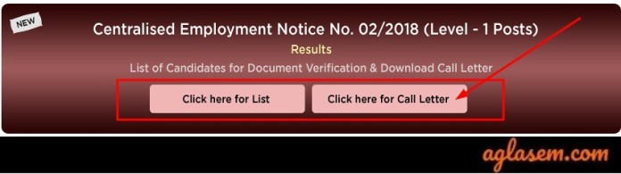 RRB Group D DV Admit Card for RRC SR