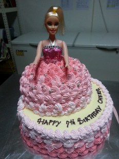 Barbie in red velvet cake.
