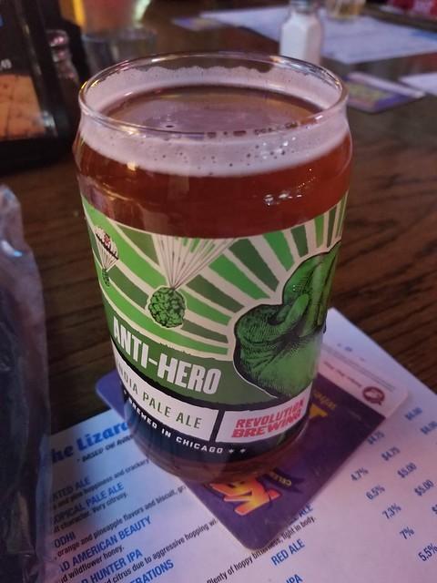 2019 Winking Lizard World Tour of Beers #1: Revolution Anti-Hero IPA - Quite hoppy, a very traditional IPA.