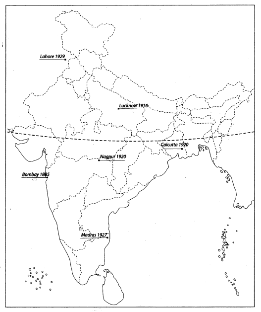 Class 10 History Map Work Chapter 3 Nationalism in India