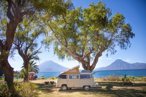 Volkswagen busses at Lake Atitlan,  Guatemala