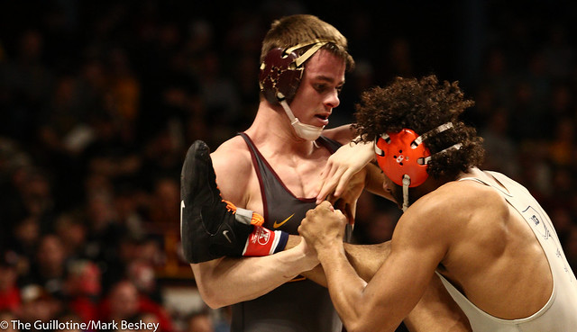 Champ. Round 1 - Dylan Anderson (Minnesota) 13-8 won by decision over Andre Lee (Illinois) 13-13 (Dec 4-1) - 1903amk0195